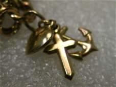 Vintage 14kt Solid Gold Cross, Heart & Anchor (faith,