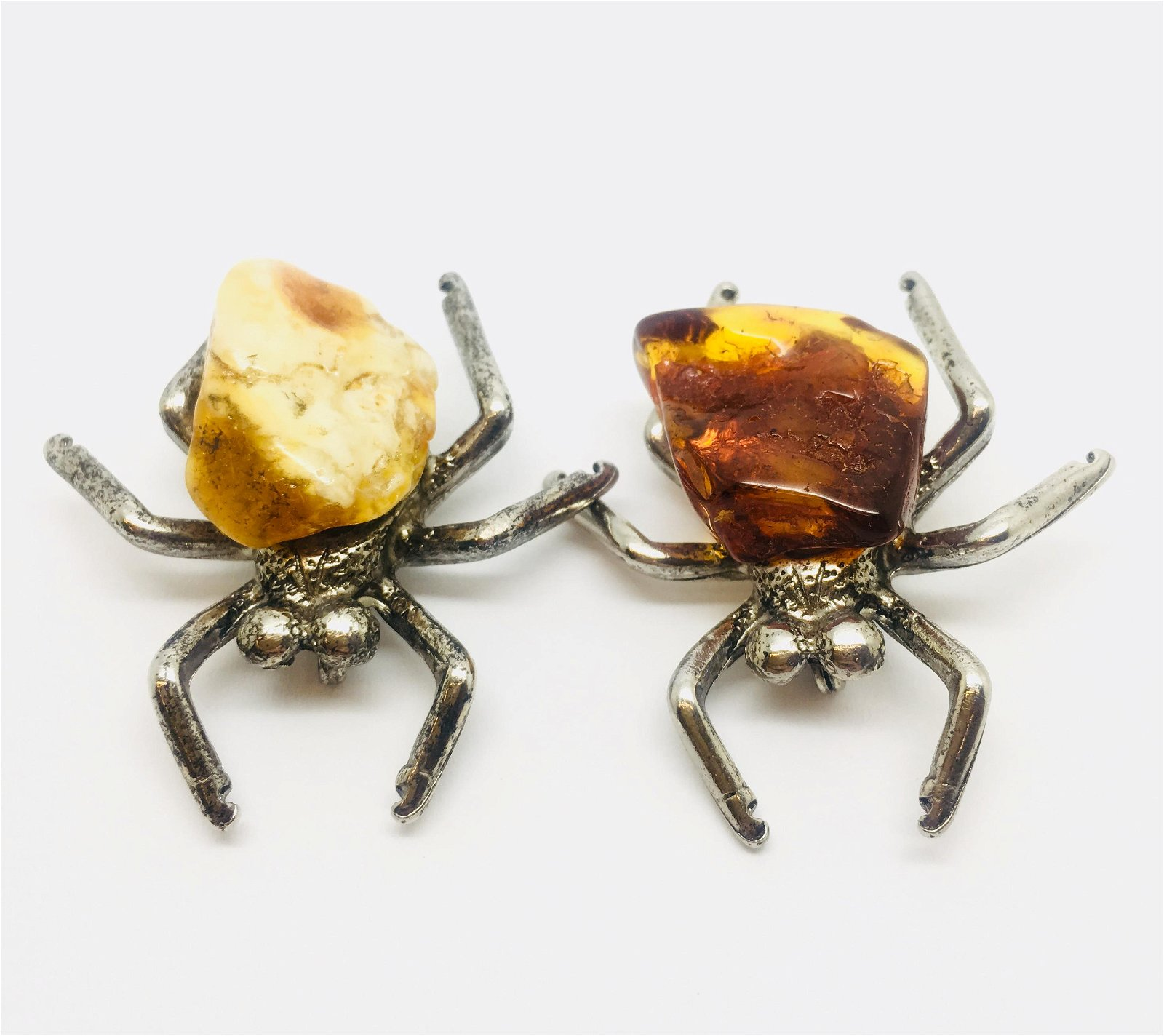 Two Beautiful Unique Vintage Amber Brooches shaped like