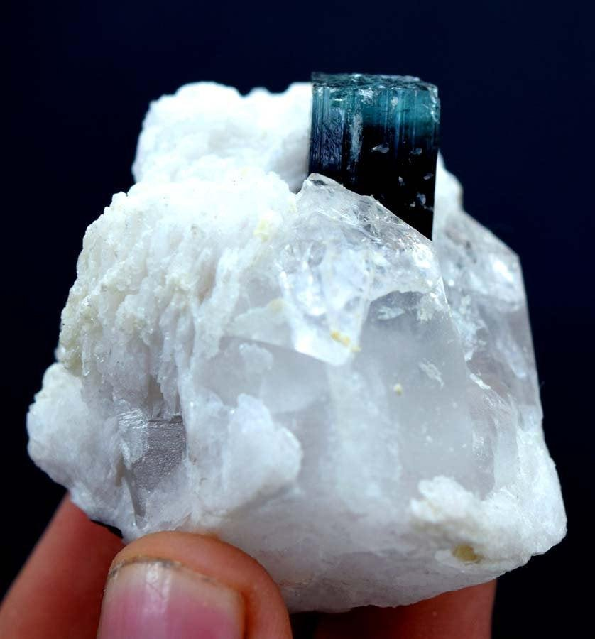 Blue Cap Tourmaline Crystal with Albite from Paprock