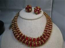 Vintage Red Crystal Beaded Necklace & Earrings Set,