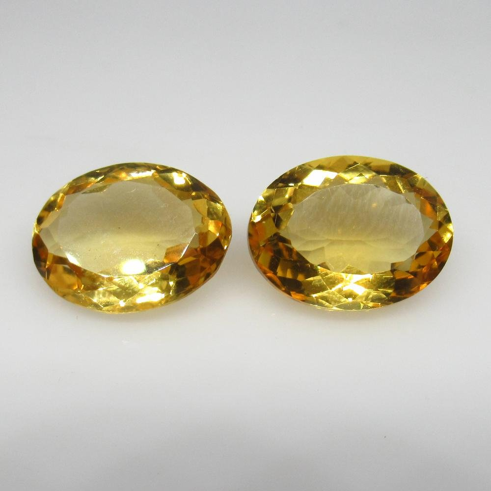9.35 Ct Natural Yellow Citrine Oval Pair