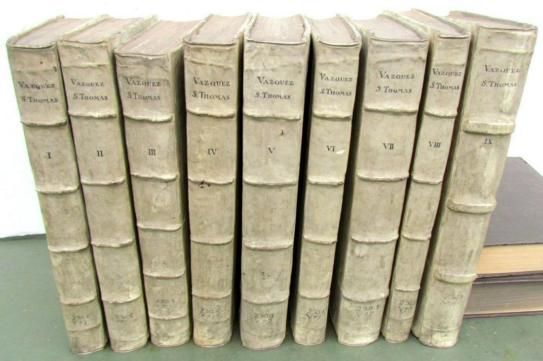 1620-1631 ANTIQUE 9 VOLUMES VELLUM SPINES FOLIOS by