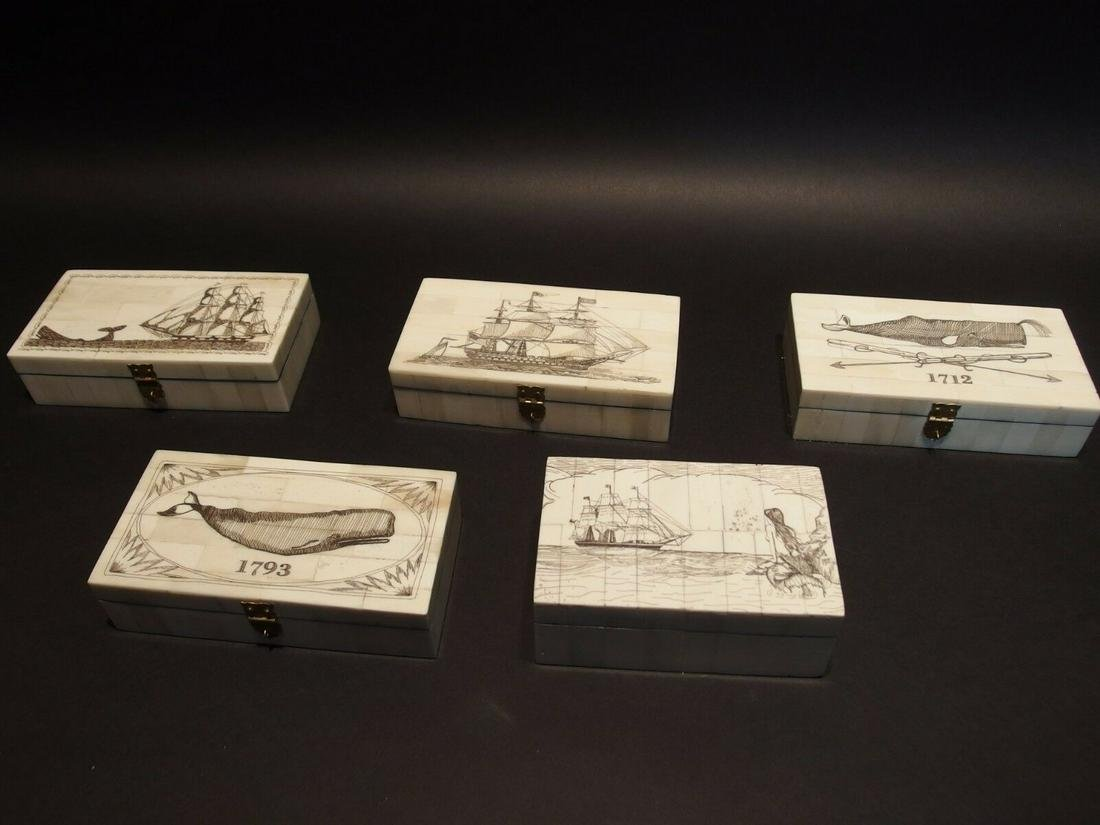 5 Folk Art Scrimshaw Etched Bone & Wood Trinket Box set