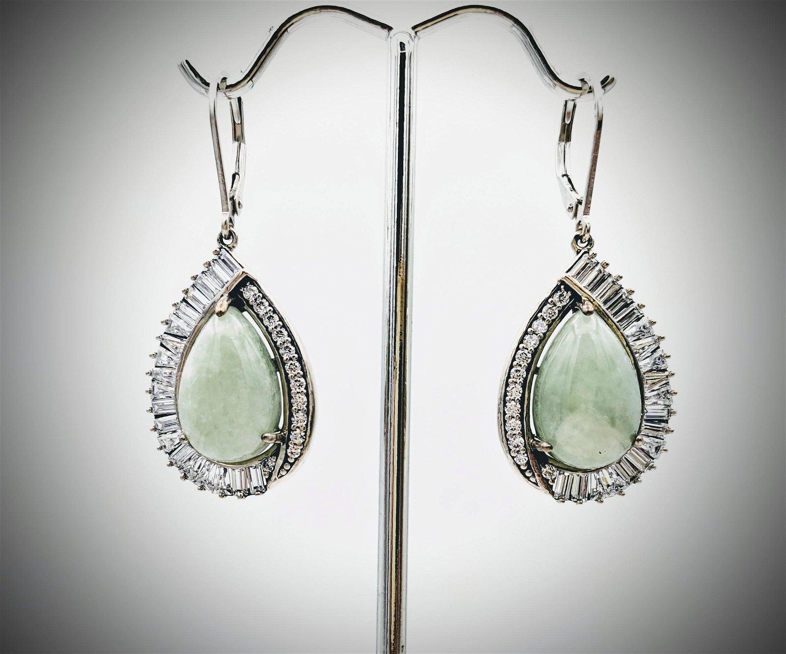 925 SS Pear Shaped Cocktail Earrings w Jade & CZs