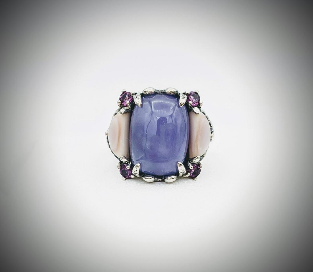 925 SS Sz 7 Swan Ring w Violet Jade, Amethyst & Rose