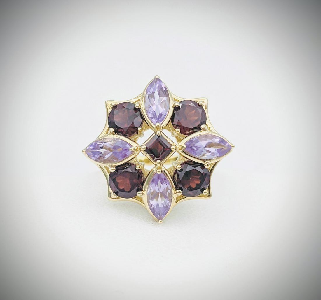 Sz 7 Almandine Garnet & Amethyst Ring