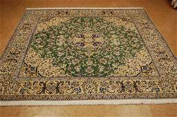 s1970s NEVER USED FINE GREEN FIELD I SFAHAN RUG 6.6x7.2
