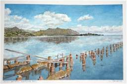 Hawaii WC Painting Still Waters Kaneohe Bay L Segedin