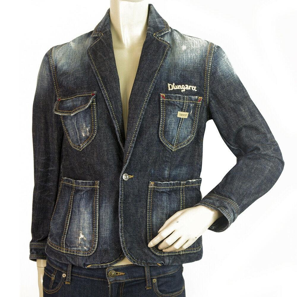 Dsquared 2 D2 Jeans Blue Distressed Denim Jacket One