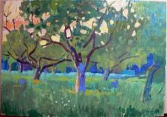 Oil painting Forest landscape Berkut Kommunar