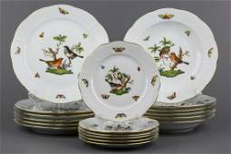 Herend Rothschild Bird Plate Set for Six People 18