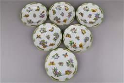Set of Six Herend Queen Victoria Dessert Plates