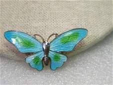 "Vintage Guilloche Blue & Green Butterfly Brooch, 1.75"""