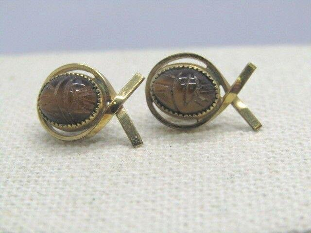 Vintage 14kt G.F. Scarab Earrings, Tiger's Eye, Signed