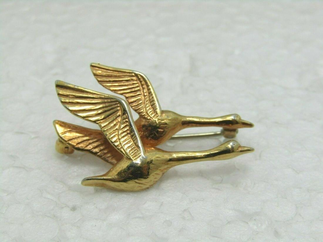 """Vintage Flying Geese Krementz Brooch, 10kt G.F., 1.25"""""""
