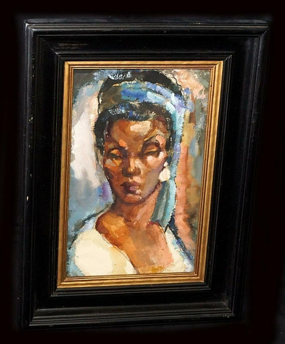 40s US WC Painting African A. Woman Frederick D Jones