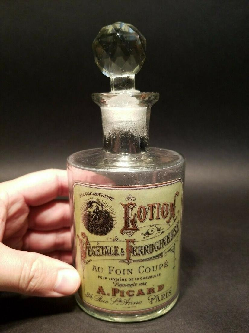 Glass French Victorian Classic Lotion Apothecary Bottle