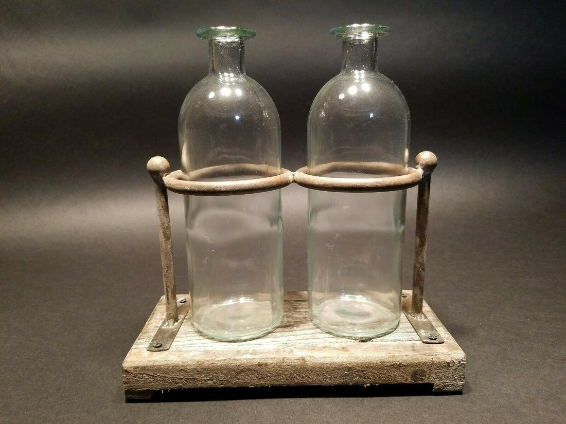 Pharmacy Apothecary Stand w 2 Glass Bottles
