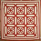 1880s Vintage Red  White Ohio Star Antique Quilt Top