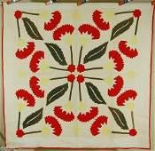 Vintage 1870's Coxcomb Applique Antique Quilt