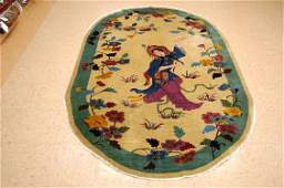 Circa 1920s ANTIQUE ART DECO OVAL CHINESE WALTER