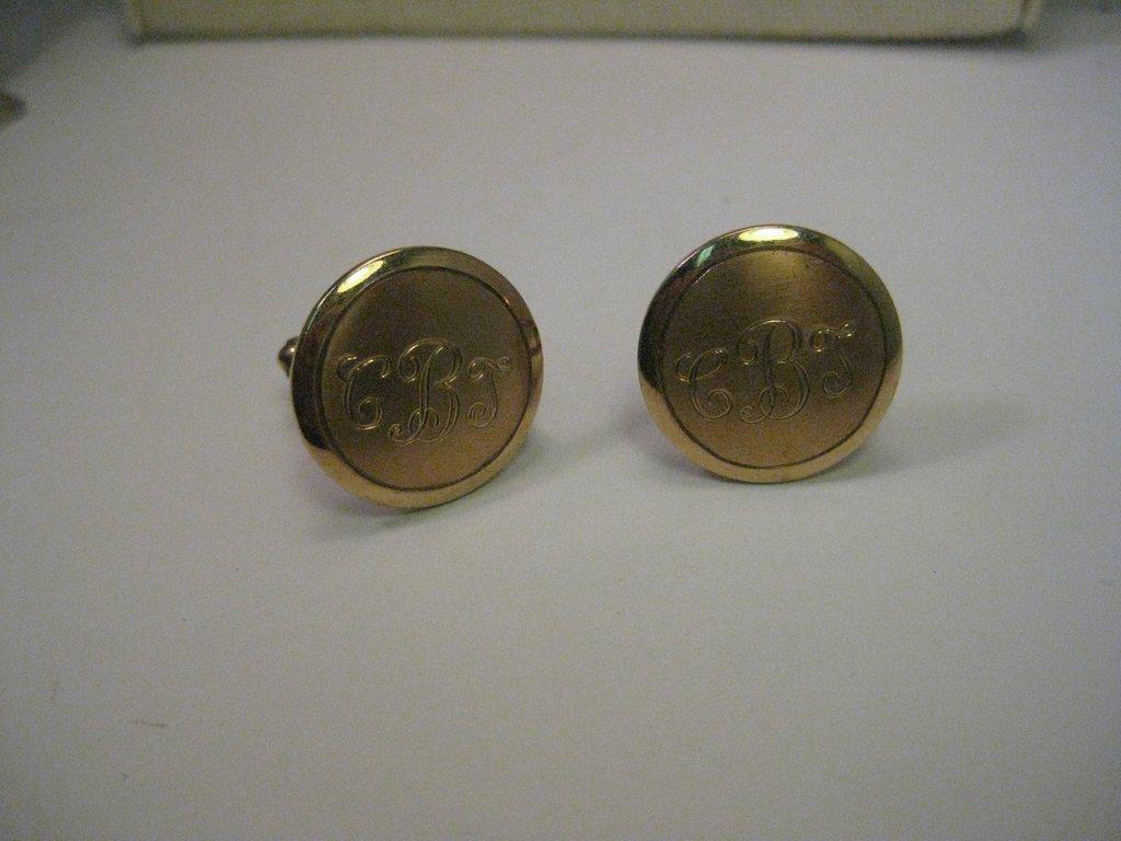 Vintage 10KT G.F. Monogrammed CBT Round Cuff Links,