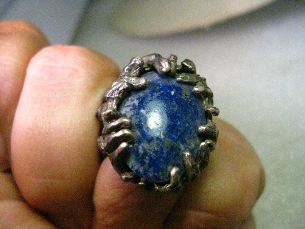 Vintage Sterling Silver Lapis Lazuli Freeform LORD OF