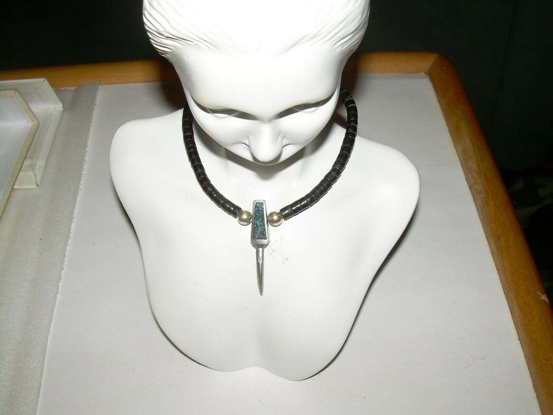 Native American Sterling Turquoise Necklace - Vintage