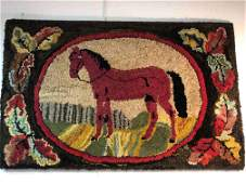 Late 19th. C. Horse Hooked Rug