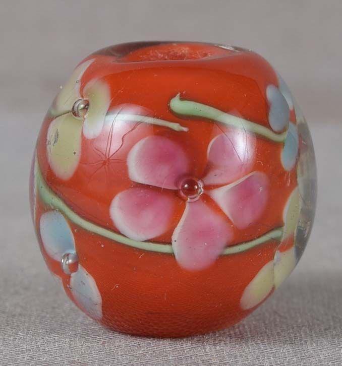 Japanese glass OJIME tombodama multicolored FLOWERS