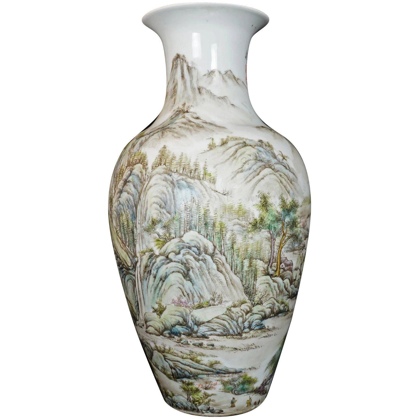 Large Chinese Republic Polychrome Vase w/Landscape