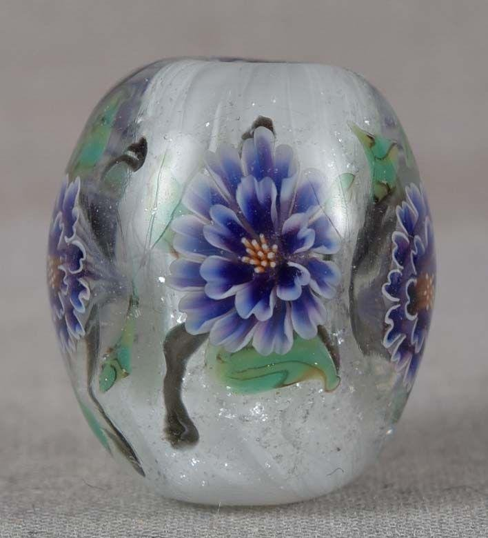 Japanese glass OJIME tombodama FLOWERS