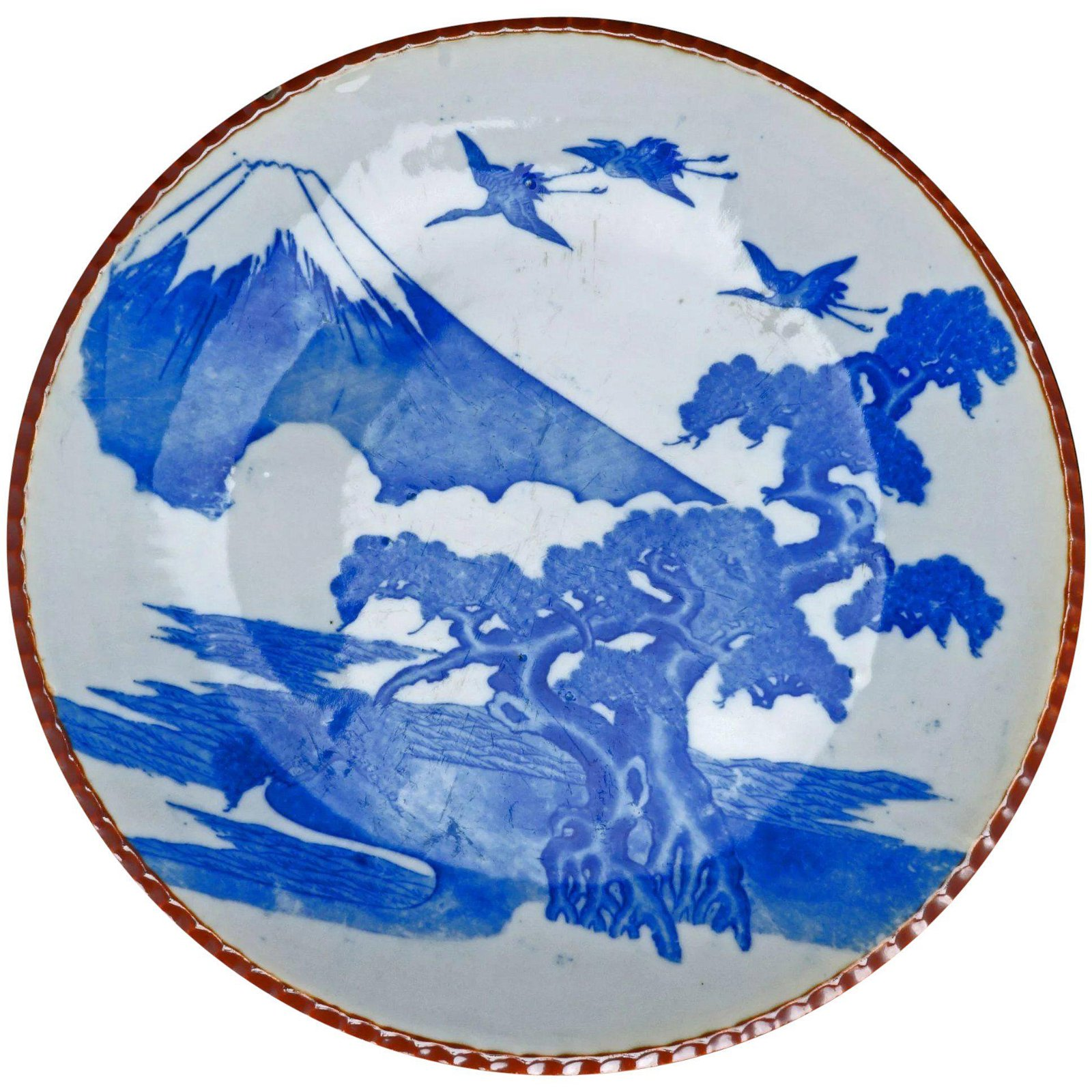 Japanese Blue/White Igezara Charger c 1900