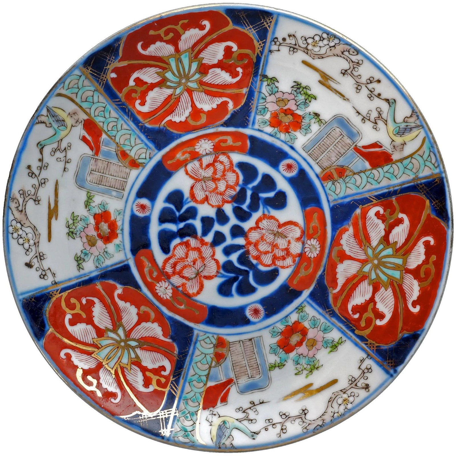 Japanese Imari Plate with Cart and Bird Circa 1930