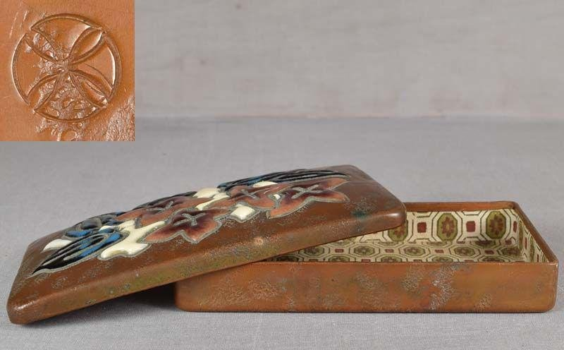 1910s ANDO Arts & Crafts Japanese copper box FLOWERS