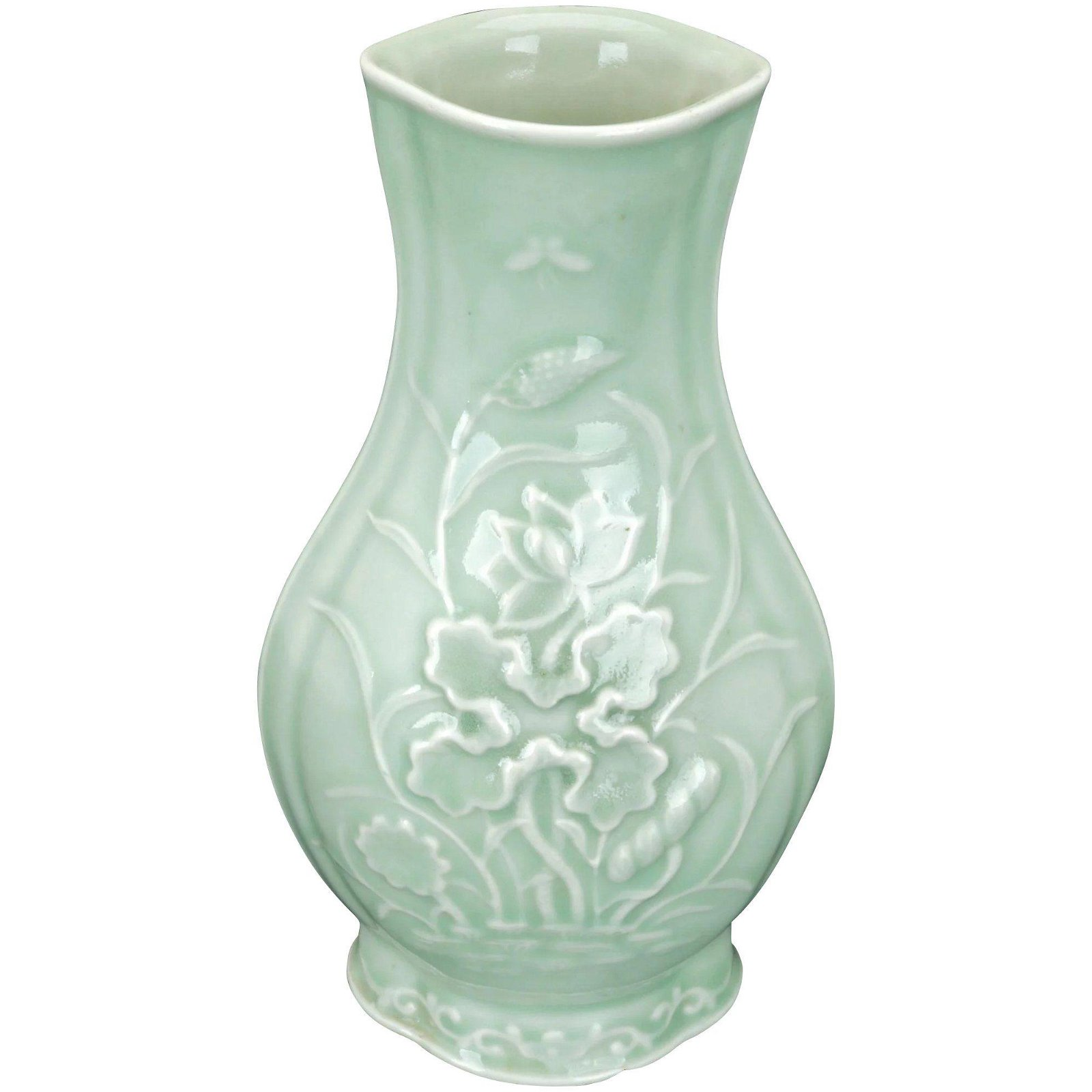 Chinese Early 20th C Celadon Molded Vase