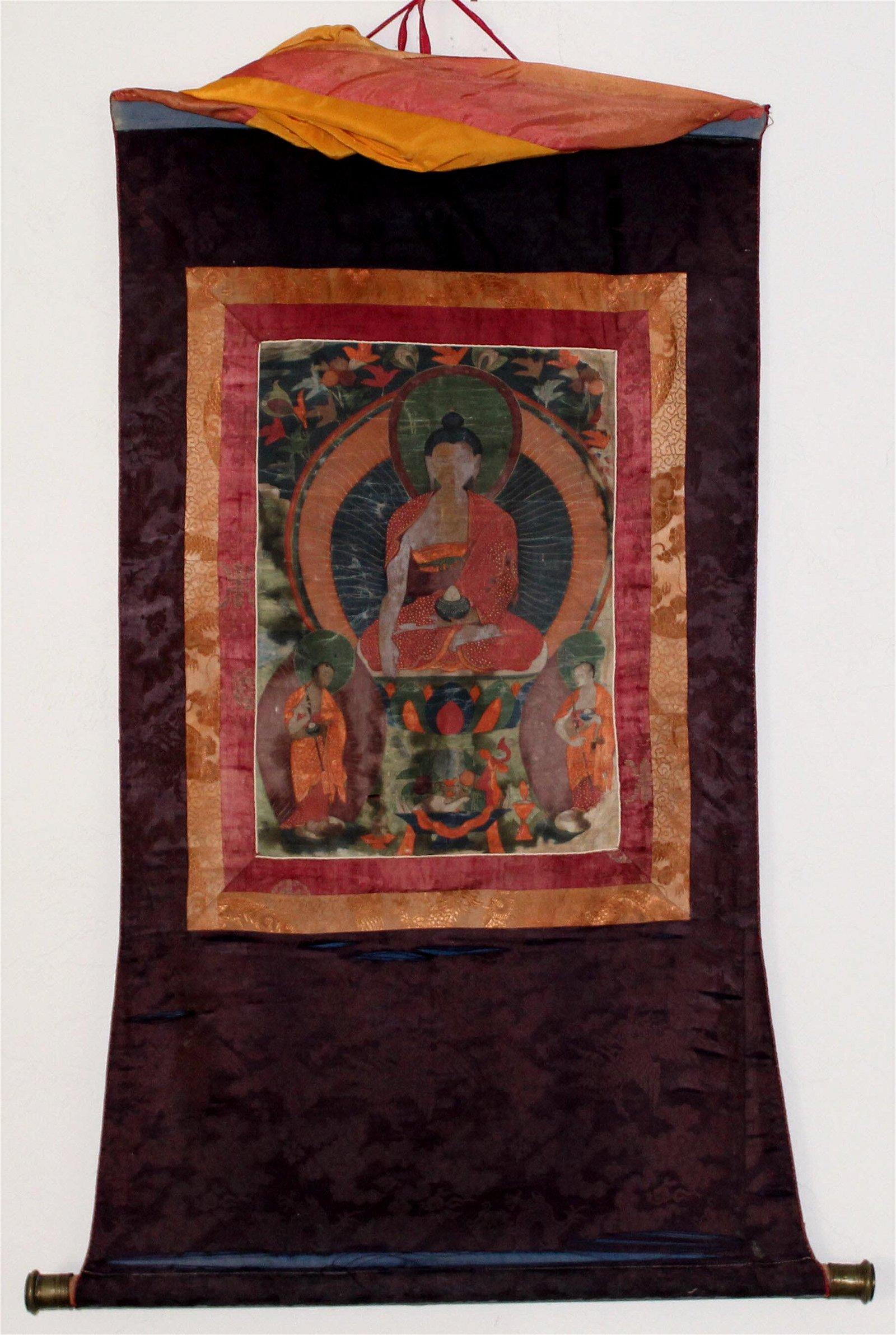Antique Tibetan Linen Thangka Sakyamuni Buddha