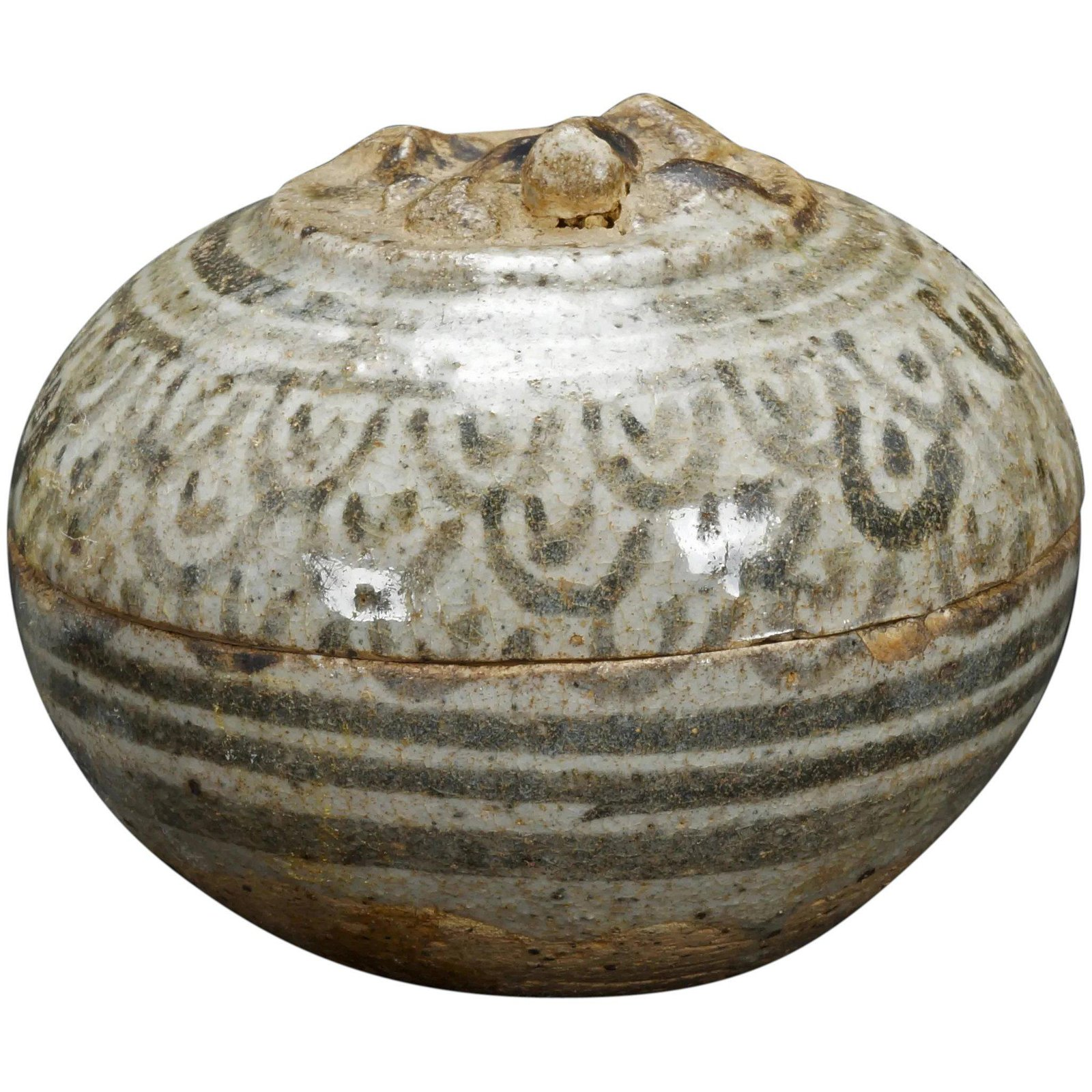 Thai Sawankhalok Stoneware Paste Box 15th Century