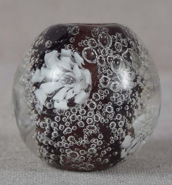 Japanese glass OJIME tombodama FLOWERS & BUBBLES
