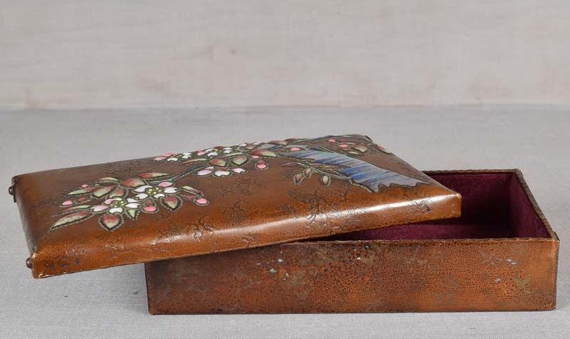 1910s ANDO Arts & Crafts Japanese copper box CHERRY