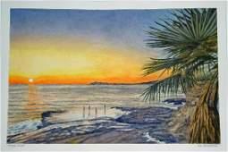 Hawaii Watercolor Painting Days End East Oahu L Segedin