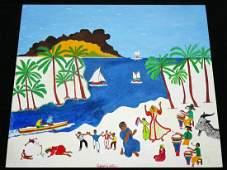 80s Haitian Painting Religious Scene Figures Gabriel