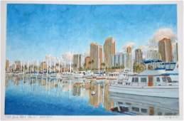 Hawaii WC Painting Ala Wai Yacht Harbor L Segedin