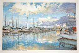 Hawaii WC Painting Early Morn Yacht Harbor L Segedin