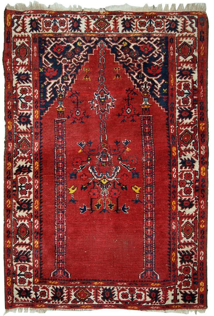 Handmade antique Turkish Anatolian prayer rug 2.6' x