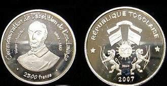 Rare 2007 Togo Silver 2500 f essai pattern Abolition of