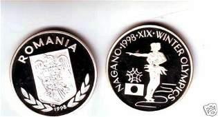 Rare 1998 Romania Silver 100 L pattern Olympic