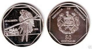 Rare 1995 Guatemala Silver 50q Parrot pattern,mntg 150