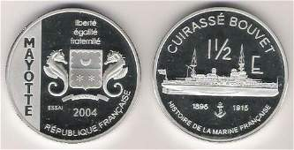 Rare 2004 French Mayotte Large 1 OZ Silver Proof 1.5