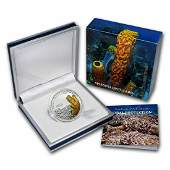 Rare 2011 Tuvalu Large Silver Proof color $1 Yellow